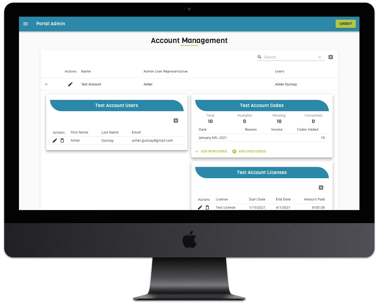 portal admin screenshot