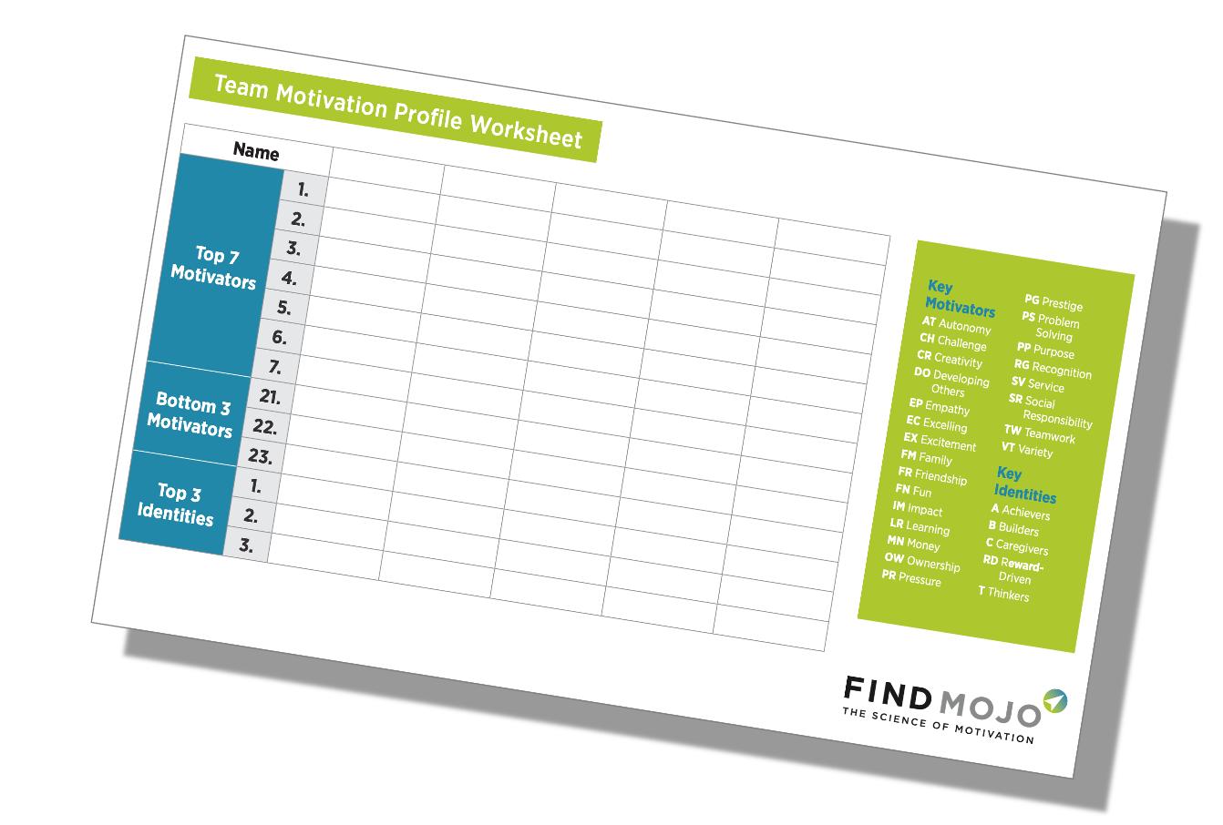 team motivation profile worksheet sample